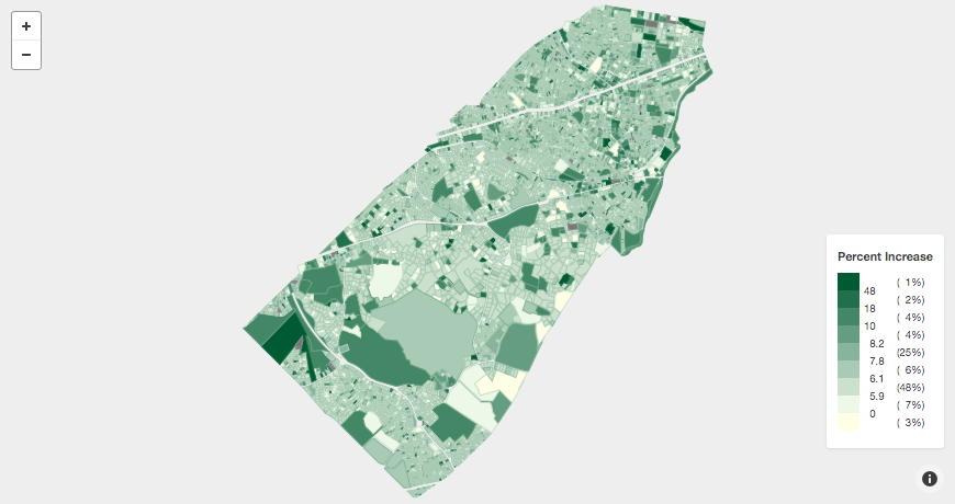 Brookline Map FY2018 Assessment Change