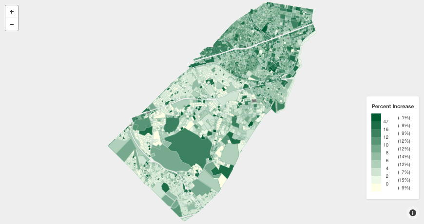 Brookline Map FY2019 Assessment Change