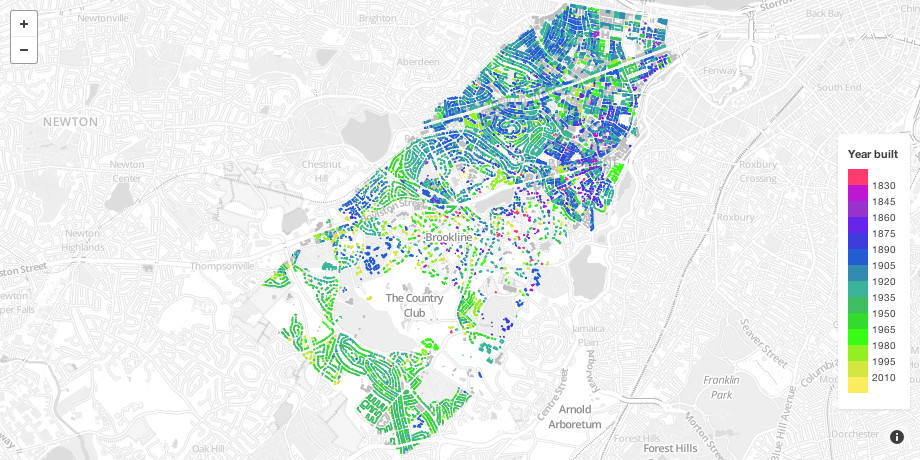Brookline Map Age of Buildings